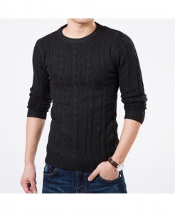 MOK MORS M Black Warm Slim Fit Pullover Sweater