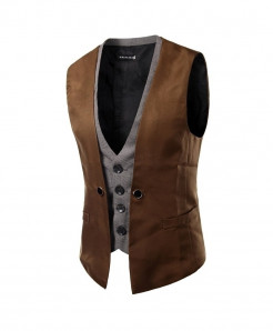 AIMENWANT Brown Slim Fit Double Chested Waistcoat