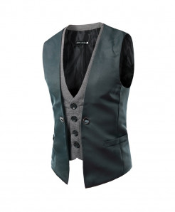 AIMENWANT Gray Slim Fit Double Chested Waistcoat