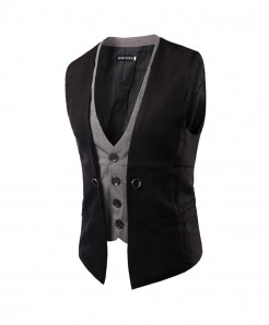AIMENWANT Black Slim Fit Double Chested Waistcoat