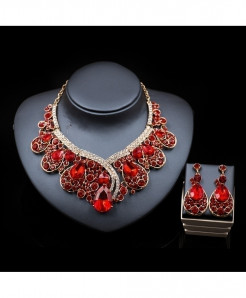 LAN PALACE Red Trendy Bridal Crystal Jewelry Set
