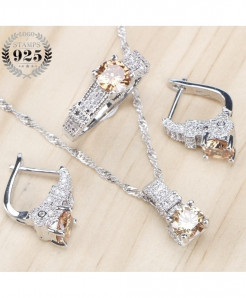 925 Sterling Silver Bridal Light Yellow Zirconia Stone Earrings Jewelry Set