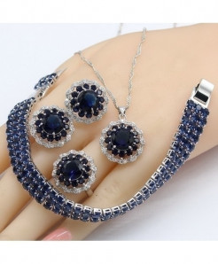 Elegant Dark Blue Crystal Silver Color Jewelry Set
