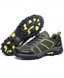 LEMAI Gray Yellow Athletic Breathable Suede Calfskin Anti-Slip Hiking Spor  Shoes