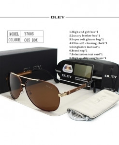 OLEY Brown Polarized Classic Pilot Golden Sunglasses
