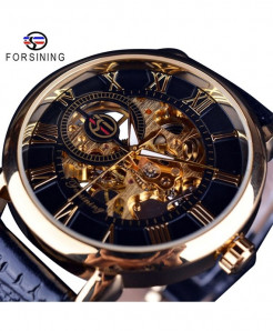 Forsining Black Golden 3D Logo Design Hollow Engraving Black Gold Case Leather Watch