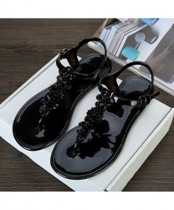 Black Flip Flops Fashion Beach Flower Breathable Non-slip Flat Sandals
