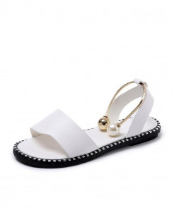 DLROOTY White Flip Flops Rome Slip-On Breathable Sandals
