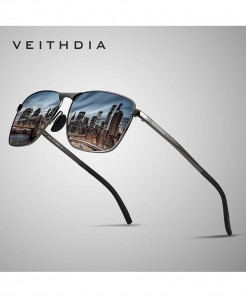 VEITHDIA Gun Black Vintage Square Polarized Sunglasses