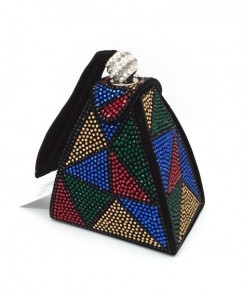 De FGG Multicolor Diamonds Mini Wristlet Clutch