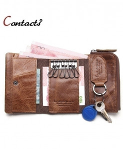 CONTACT Brown Genuine Leather Case Key Holder Wallet