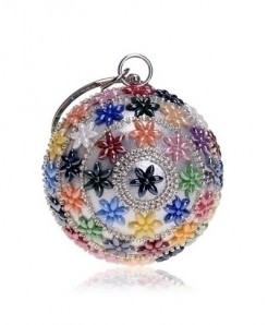 SEKUSA Multicolor Flowers Ceramics Round Shaped Handbags Diamonds Clutch