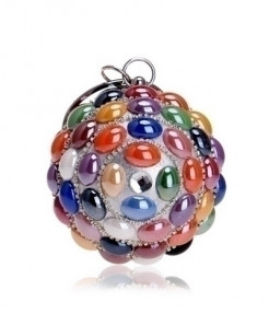 SEKUSA Multicolor Beads Ceramics Round Shaped Handbags Diamonds Clutch