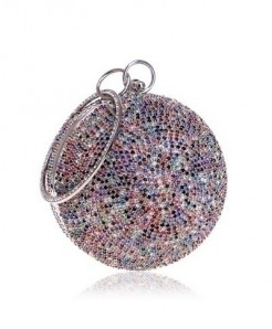 SEKUSA Silver Multicolor Ceramics Round Shaped Handbags Diamonds Clutch