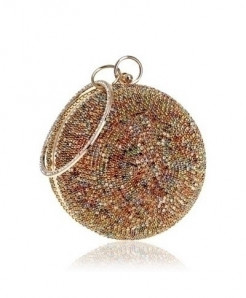 SEKUSA Golden Multicolor Ceramics Round Shaped Handbags Diamonds Clutch