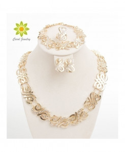 Gold Color Party Crystal Fine Statement Jewelry Set