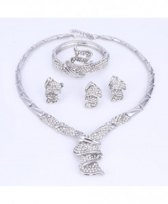 OUHE SilverColor Alloy Rhinestone Wedding Jewelry Set