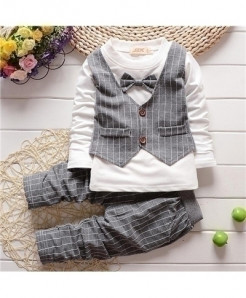 Gray Baby Boy Long Sleeve Vest Shirt Cotton Striped Pant