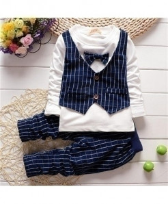 Navy Baby Boy Gentleman Long Sleeve Vest Shirt Cotton Striped Pants