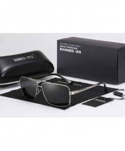 BANNED Silver Polarized Mirror Coating Points Black Sunglasses