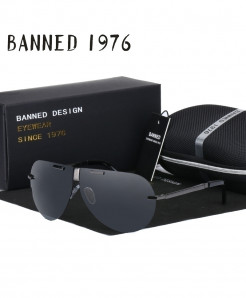 BANNED 1976 Silver Polarized Designer Folding Sunglasses