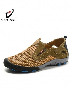 VESONAL Brown Breathable Casual Slip on Shoes