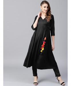 Black Warp Neck Frock Style Ladies Kurti ALK-191