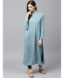 Sky Blue Round Tie Neck Style Ladies Kurti ALK-177