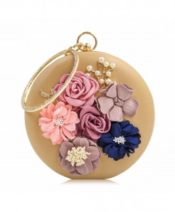 Milisente Beige Floral Ladies Clutch