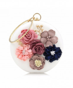 Milisente White Floral Ladies Clutch