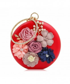 Milisente Red Floral Ladies Clutch