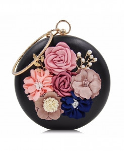 Milisente Black Floral Ladies Clutch
