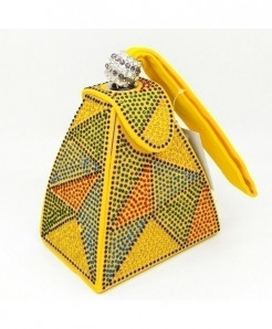 De FGG Yellow Multicolor Diamonds Mini Wristlet Clutch