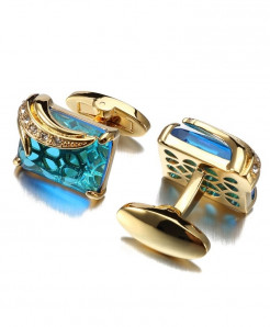 Lepton Low-Key Blue Glass Square Crystal Cufflinks