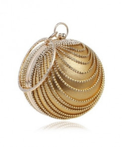 SEKUSA Golden Tassel Rhinestones Stylish Ladies Clutch