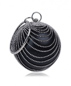 SEKUSA Black Tassel Rhinestones Stylish Ladies Clutch