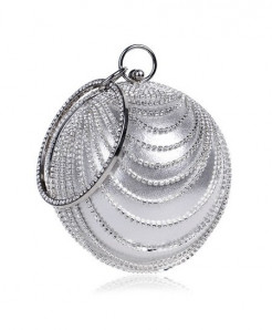 SEKUSA Silver Tassel Rhinestones Stylish Ladies Clutch