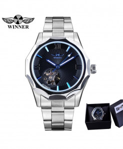 Winner Silver Blue Geometry Design Transparent Watch