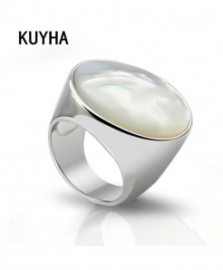 White Pearl Opal Stone Stainless Steel Ring