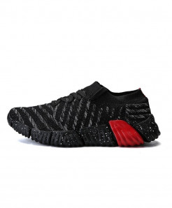 Joomra Black Breathable Knit Athletic Sport Sneakers
