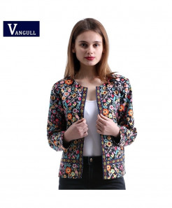 Vangull Multicolor  Elegant Botanical Jacket for Women