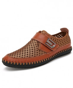 MAISMODA Brown Breathable Mesh Leather Slip On Loafers