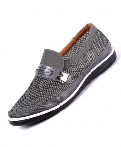 QIYHONG Gray Mesh Creepers Loafers