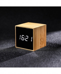 Bamboo White  LED Alarm Table Clock