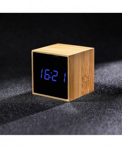 Bamboo Blue LED Alarm Table Clock