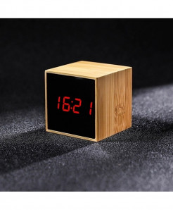 Bamboo Red LED Alarm Table Clock