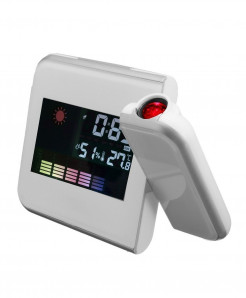White Digital LCD Time Projector LED Alarm Clock