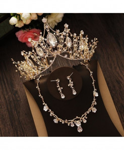 Bridal Rhinestone Crystal Gold Tiara Silver Crown A Jewelry Set