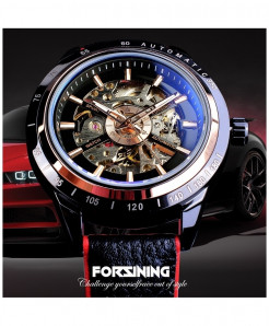 Forsining Transparent Red Black Strap Waterproof Skeleton Automatic Watch
