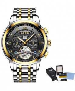 LIGE Black Golden Relogio Masculino Automatic Mechanical Steel Business Waterproof Watch